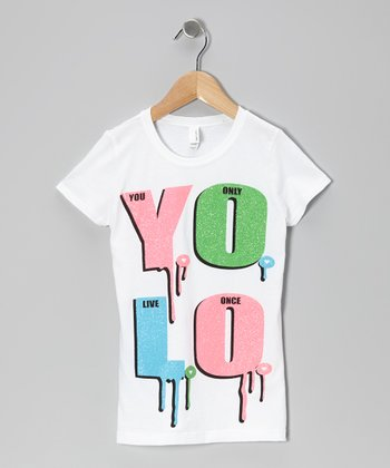White 'YOLO' Tee - Girls