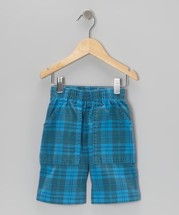 Turquoise Tonal Plaid Shorts - Toddler & Boys