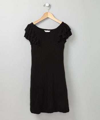 Black Ruffle Sleeve Dress - Girls