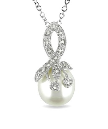 White Freshwater Pearl & Diamond Pendant Necklace
