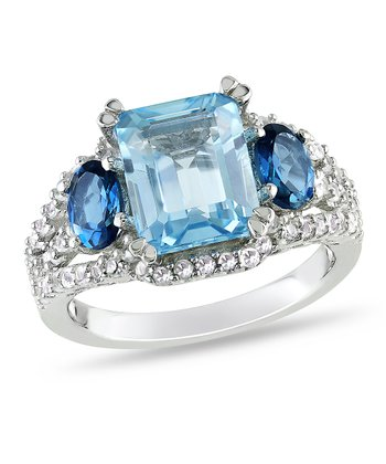 Sky Blue & London Blue Topaz Radiant Ring