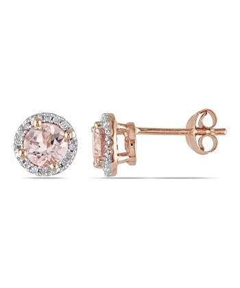 Morganite & Diamond Stud Earrings