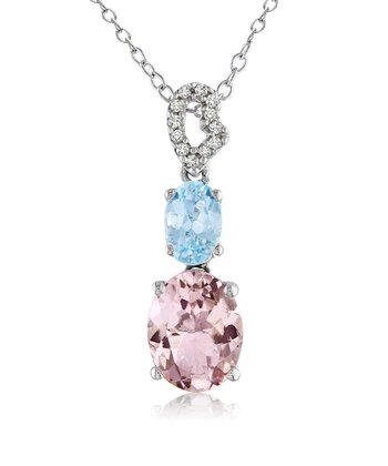 Sky Blue Topaz & Morganite Pendant Necklace
