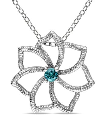 Blue Diamond Flower Pendant Necklace