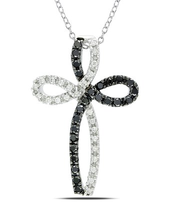 White & Black Sterling Diamond Cross Pendant Necklace