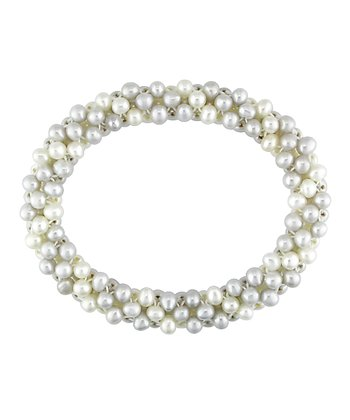 White & Gray Freshwater Pearl Stretch Bracelet