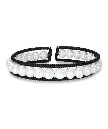 White Freshwater Pearl & Leather Cuff