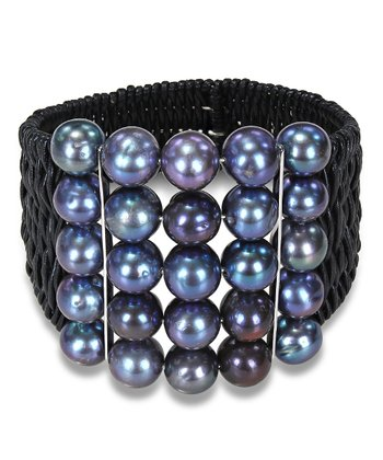 Peacock Freshwater Pearl & Leather Cuff