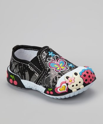 Black Butterfly Slip-On Shoe