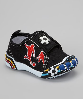 Black Soccer Slip-On Shoe