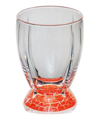 Orange Crackle 14-Oz. Double Old Fashioned Tumbler - Set of Four
