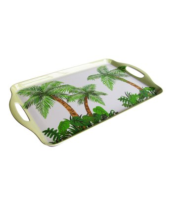 Green & White Palm Tree Serving Tray