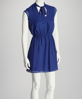 Royal Blue & Lime Polka Dot Tie-Front Dress