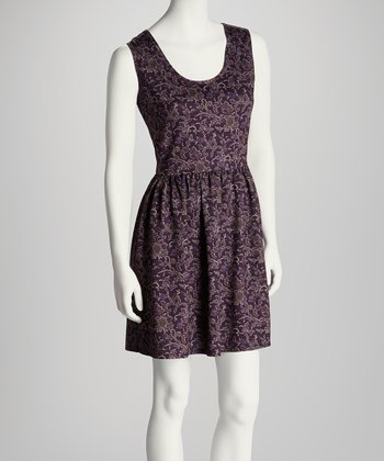Plum & Gold Paisley Sleeveless Dress