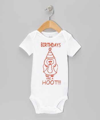 White 'Birthdays Are a Hoot' Bodysuit - Infant