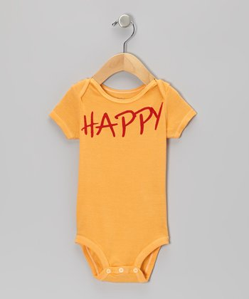 Orange 'Happy' Bodysuit - Infant