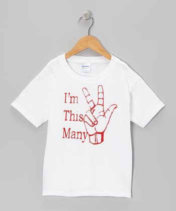 White 'I'm This Many' 3 Tee - Toddler