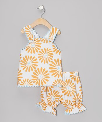 Orange Daisy Jumper & Bloomers - Infant, Toddler & Girls