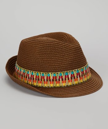 Brown Woven Band Fedora