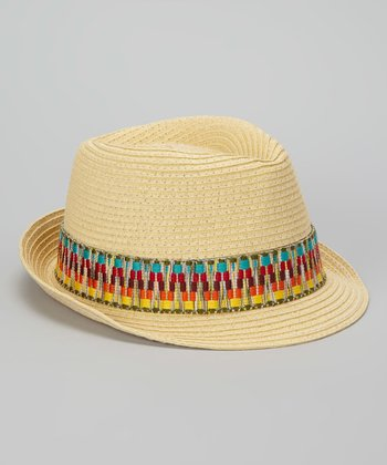 Natural Woven Band Fedora