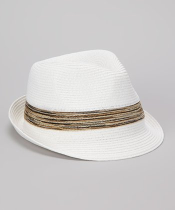 White Blended Band Straw Fedora