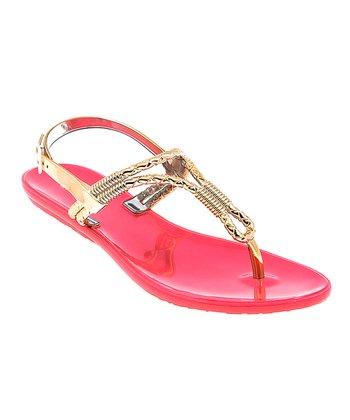 Coral & Gold Cords T-Strap Sandal