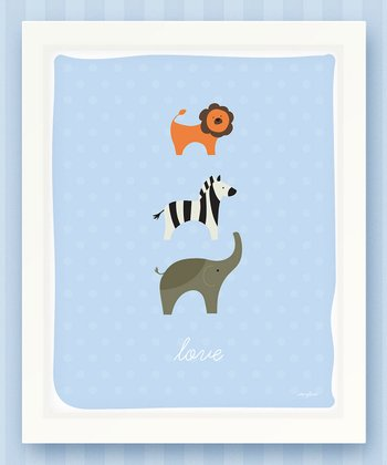 Blue 'Love' Zoo Print