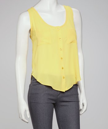 Yellow Sleeveless Button-Up