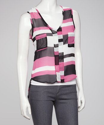 Pink Stripe Sheer Hi-Low Sleeveless Top