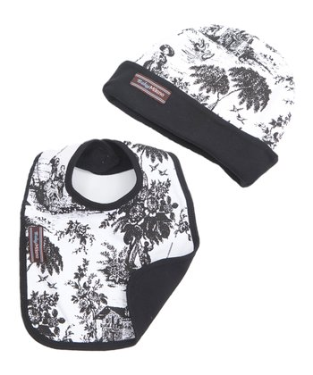 Black & White Toile Beanie & Bib