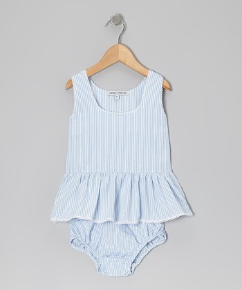 Blue Stripe Sunsuit - Infant & Toddler