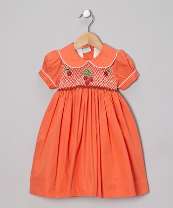 Orange Strawberry Dress - Infant