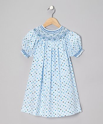 Blue Pretty Polka Dot Bishop Dress - Infant & Girls