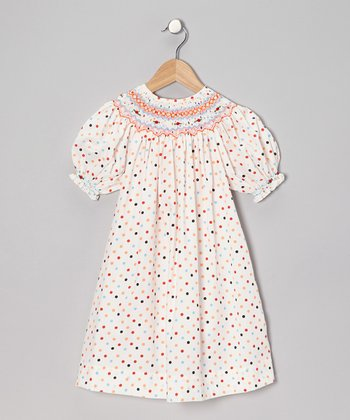 Orange Polka Dot Lady Bishop Dress - Girls