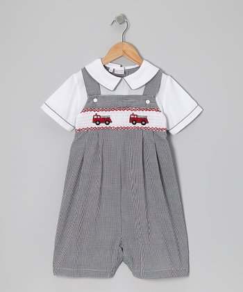 Black Gingham Fire Truck Romper - Infant