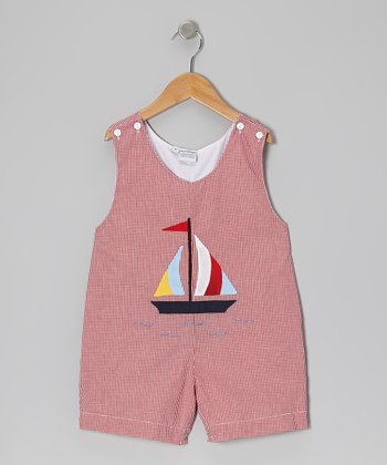Red Gingham Sailboat Shortalls - Infant & Toddler