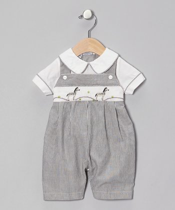 Black Stripe Zebra Romper - Infant
