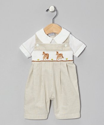 Tan Stripe Le Cheval Romper - Infant