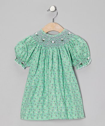 Green Floral Delena Bishop Dress - Girls