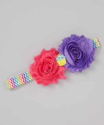 Pink & Purple Zigzag Flower Headband
