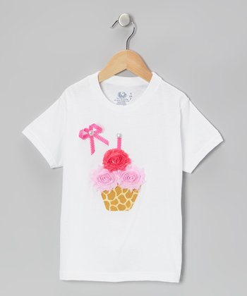 White Giraffe Cupcake Tee - Infant, Toddler & Girls