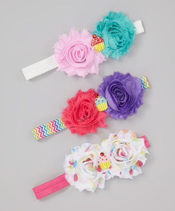 Pink & Purple Flower Cupcake Headband Set