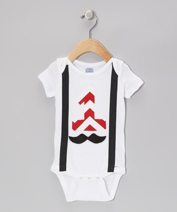 White Mustache Suspender Bodysuit - Infant