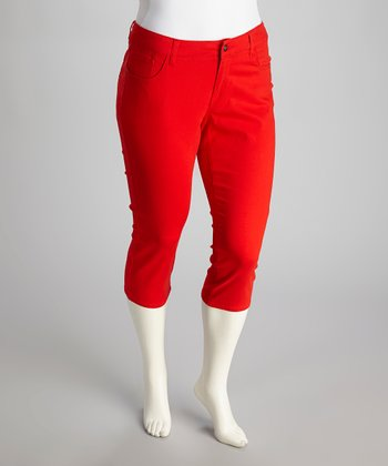 Red Plus-Size Capri Pants