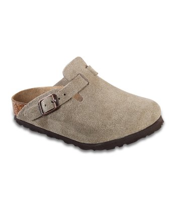 Taupe Suede Boston Mule - Kids