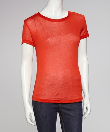 Orange Ruched Flap Tee