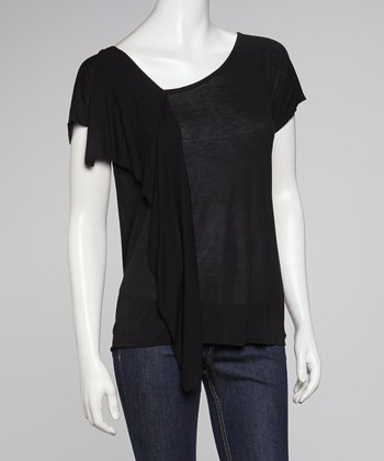 Black Asymmetrical Drape Top