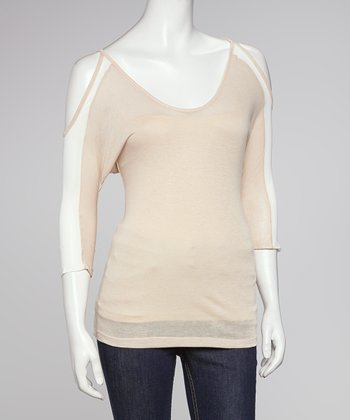 Beige Color Block Cutout Top