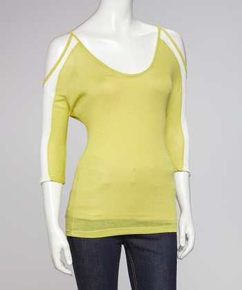 Lime Color Block Cutout Top