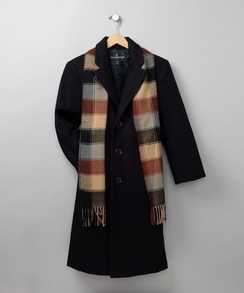 Navy Wool-Blend Walking Coat & Scarf - Boys